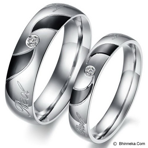 TITANIUM RING Cincin Couple Size 6(F) & 9(M) [GS268] - White and Black & White and Black - Cincin
